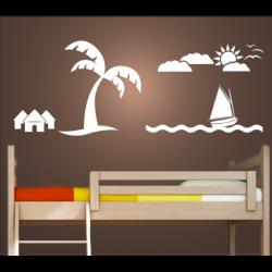 Wandtattoo Palme mit Segelboot Sonne und Wolken
