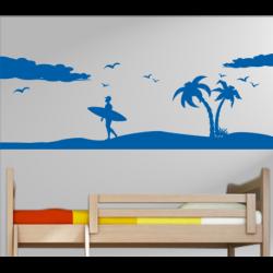 Wandtattoo cooler Surfer Boy mit Palmen und Strand