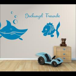 Wandtattoo Kinderzimmer Dschungel Freunde Hai und Fisch Piranhas
