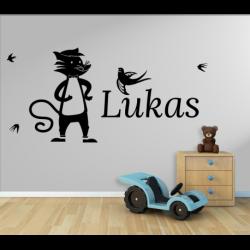 Wandtattoo Kinderzimmer Fuchs mit Vogel und eigenen Name