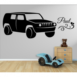 Wandtattoo Kinderzimmer Auto Geländewagen Jeep mit einen Name