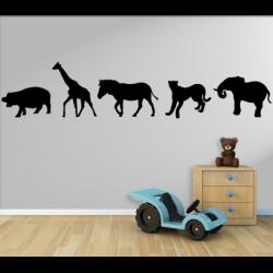 Wandtattoo Kinderzimmer Afrika Nilpferd, Giraffe, Zebra, Panter, Elefant