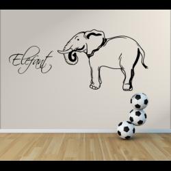 Wandtattoo Kinderzimmer Elefant groß mit eigenen Name
