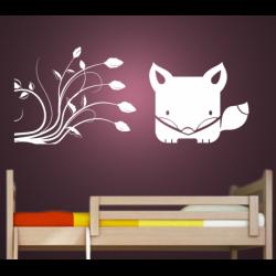 Wandtattoo Kinderzimmer kleiner Fuchs unter Blumenstrauch