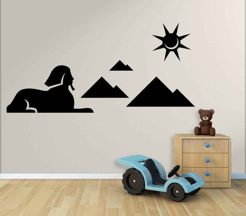 Wandtattoo Kinderzimmer Grosse Sphinx Von Gizeh Mit Pyramiden Und Sonne