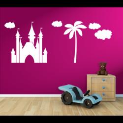 Wandtattoo Kinderzimmer Traumschloss Prinzessinnenschloss mit Palmen