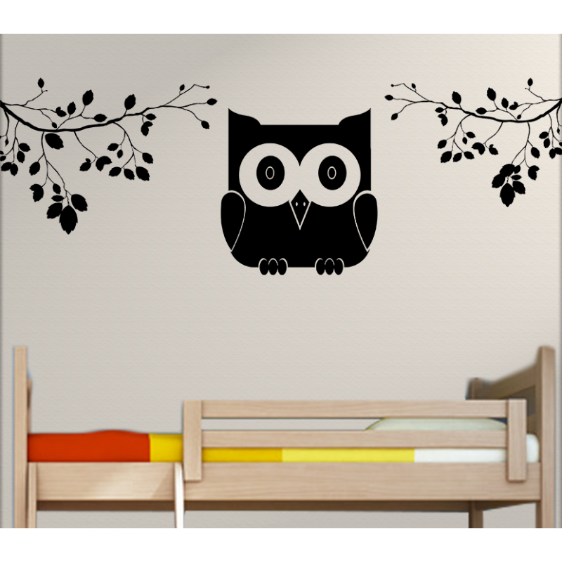 wandtattoo kinderzimmer eule und baum ste. Black Bedroom Furniture Sets. Home Design Ideas