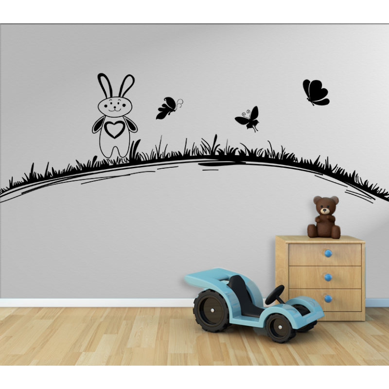 wandtattoo kinderzimmer hase hasi mit schmetterlinge auf der wiese. Black Bedroom Furniture Sets. Home Design Ideas