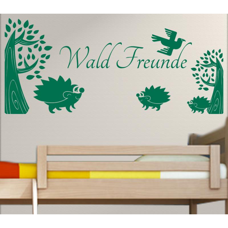 wandtattoo kinderzimmer wald freunde igel unter b ume. Black Bedroom Furniture Sets. Home Design Ideas