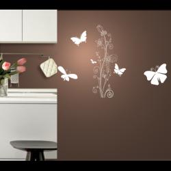 Wandtattoo Schmetterlinge und Blume edle Tulpe