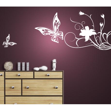 Wandtattoo Schmetterlinge kreise um Blume