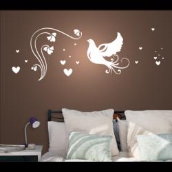 Wandtattoo verliebte Taube fliegt zur Blume umgeben von einem Meer an Herzen