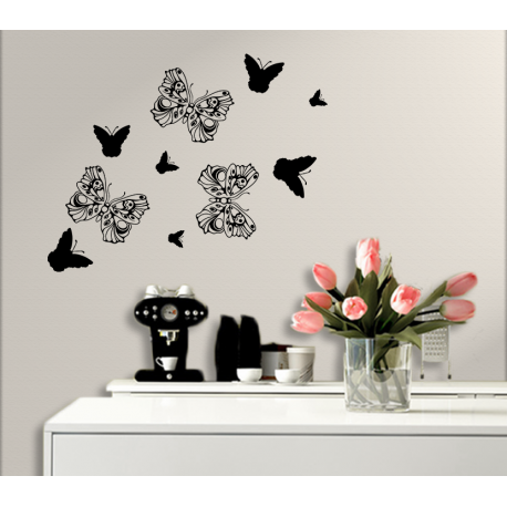 Wandtattoo Schmetterlinge tanzen zusammen in der Natur