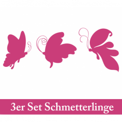 Wandtattoo drei große Schmetterlinge seitlich