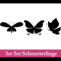 Wandtattoo drei große Schmetterlinge seitlich und von oben