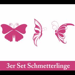 Wandtattoo drei große Schmetterlinge schwarz seitlich und von oben