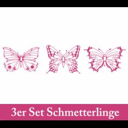 Wandtattoo drei edel verzierte Schmetterlinge von oben