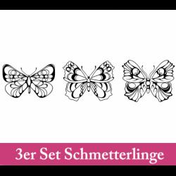 Wandtattoo drei schnörklig verzierte Schmetterlinge von oben