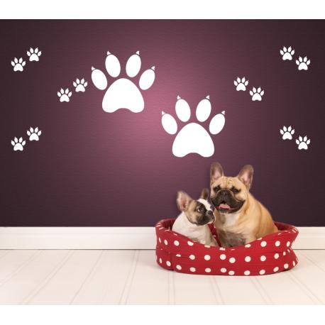Wandtattoo Hundepfoten Gross Und Viele Kleine Pfoten Abdrucke