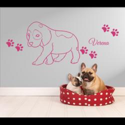 Wandtattoo Hundebaby unbeholfen taumelt Hund mit Hundepfoten und Pfoten Abdrücke mit eigenen Name