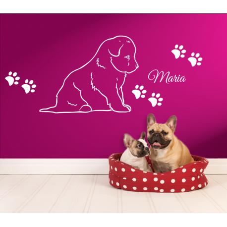 wandtattoo sitzender hund der treuste begleiter im leben mit hundepfoten und pfoten abdr cke mit. Black Bedroom Furniture Sets. Home Design Ideas