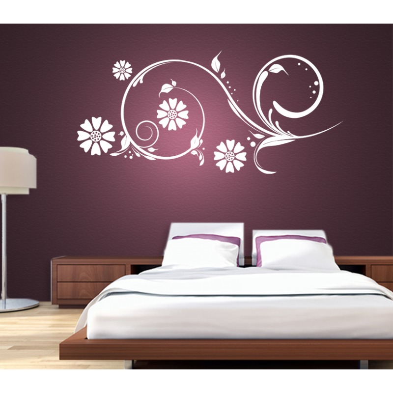 wandtattoo blumenzauber blume bl ten verschn rkelt gras. Black Bedroom Furniture Sets. Home Design Ideas