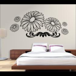 Wandtattoo Blume Blüten mit Zierstreifen