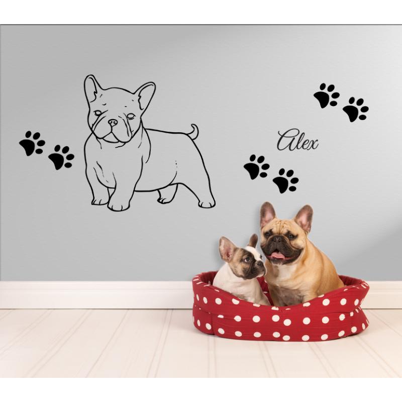 wandtattoo franz sische bulldogge baby mit hundepfoten. Black Bedroom Furniture Sets. Home Design Ideas