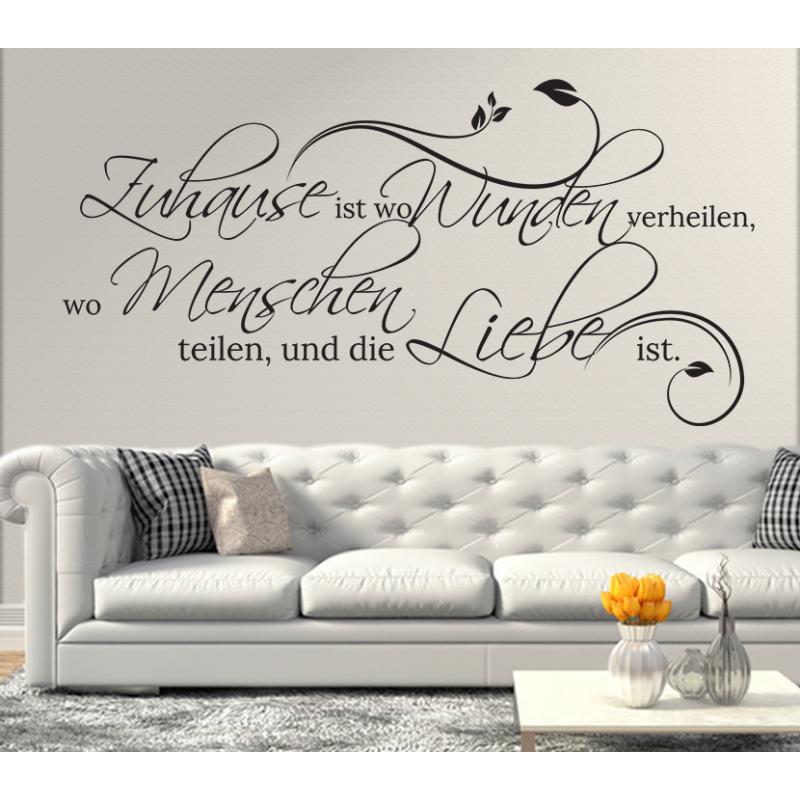 wandtattoo zuhause ist wo wunden verheilen wo menschen teilen und die liebe ist. Black Bedroom Furniture Sets. Home Design Ideas