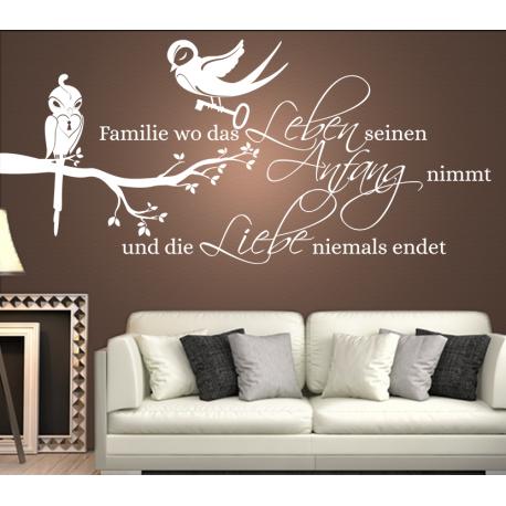 wandtattoo familie wo das leben seinen anfang nimmt und. Black Bedroom Furniture Sets. Home Design Ideas