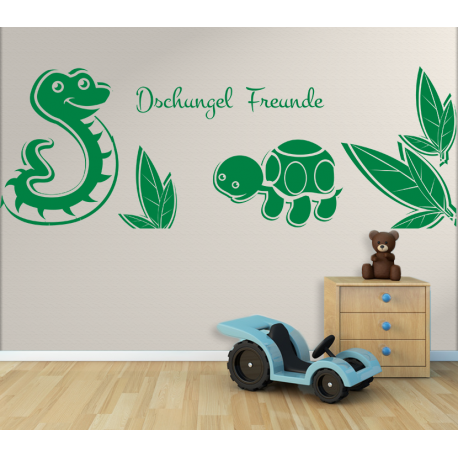 Wandtattoo Kinderzimmer Dschungel Freunde Schildkröte und Schlange ...