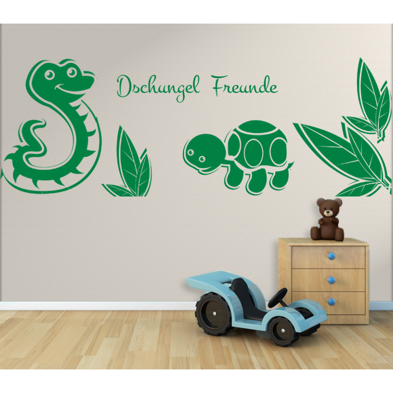wandtattoo kinderzimmer dschungel freunde schildkr te und schlange im regenwald. Black Bedroom Furniture Sets. Home Design Ideas