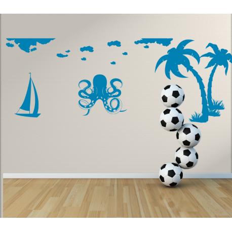 Wandtattoo Kinderzimmer Krake mit Tentakel Palmen und Segelboot