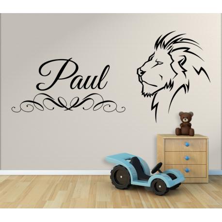 Wandtattoo Kinderzimmer Löwe mit eigenem Name zB Paul