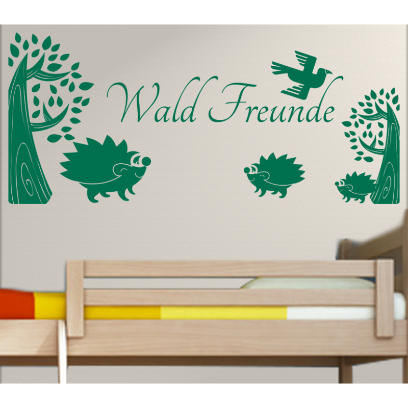wandtattoo kinderzimmer wald freunde igel unter b ume. Black Bedroom Furniture Sets. Home Design Ideas