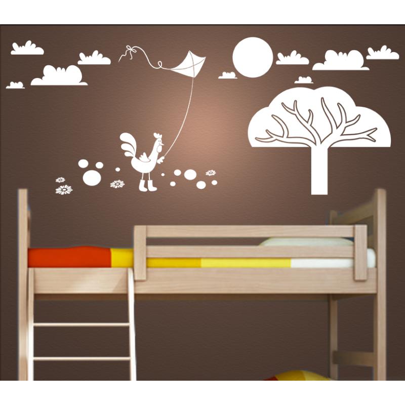 Wandtattoo Kinderzimmer Huhn mit Gummistiefel lässt Drachen steigen