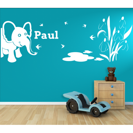 wandtattoo kinderzimmer elefant neben teich. Black Bedroom Furniture Sets. Home Design Ideas