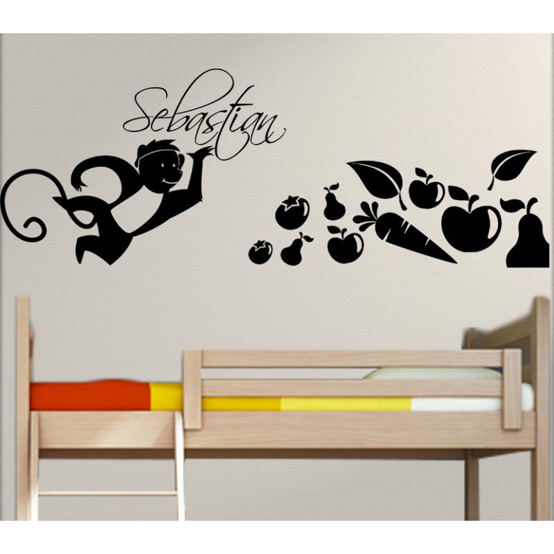 wandtattoo kinderzimmer fr hlicher affe mit eigenem name. Black Bedroom Furniture Sets. Home Design Ideas