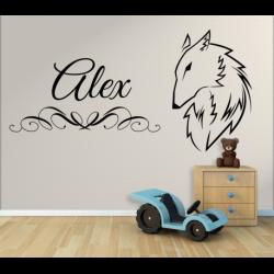 Wandtattoo Kinderzimmer Wolf mit eigenem Name
