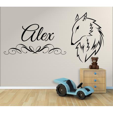 wandtattoo kinderzimmer wolf mit eigenem name. Black Bedroom Furniture Sets. Home Design Ideas