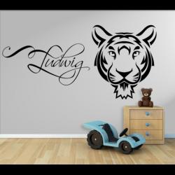 Wandtattoo Kinderzimmer Tiger Motiv mit eigenen Name